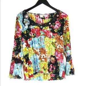 Alberto Makali Bell Sleeve Crinkle Floral Top